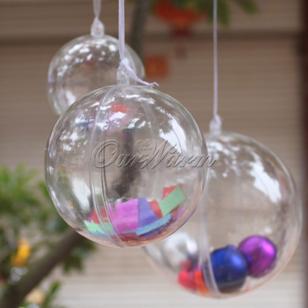 10pcs 60mm Transparent Acrylic ball tree party wedding decoration baubles candy gift box(China (Mainland))