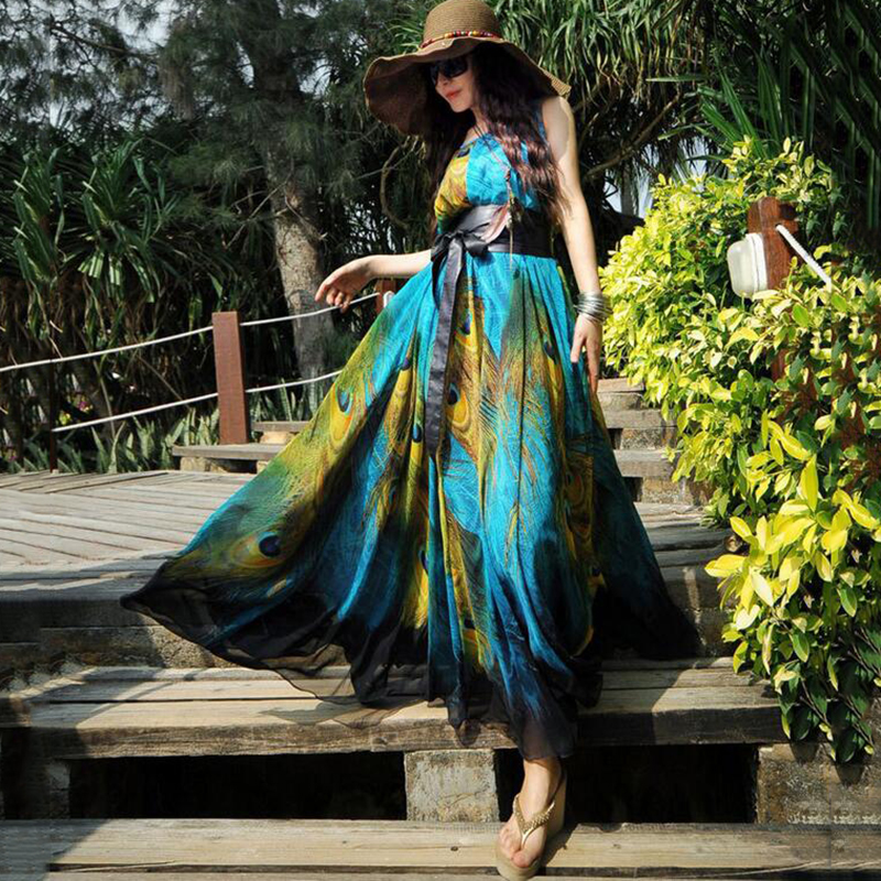 Sexy Women Maxi Dress 2015 Summer Brand Chiffon Vestidos Beach Dresses Plus Size 5Xl Big Female Long Sleeveless 4Xl 3Xl Robe