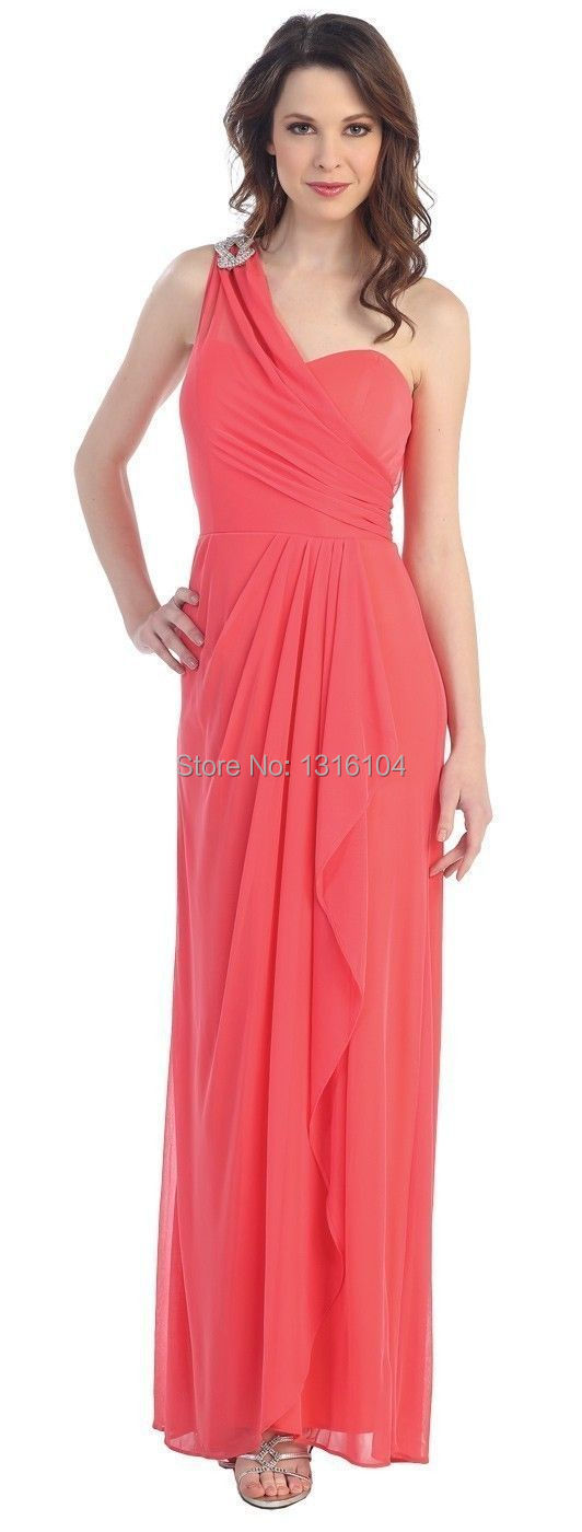 Long Coral Bridesmaid Dresses under 100 Promotion-Shop for ...