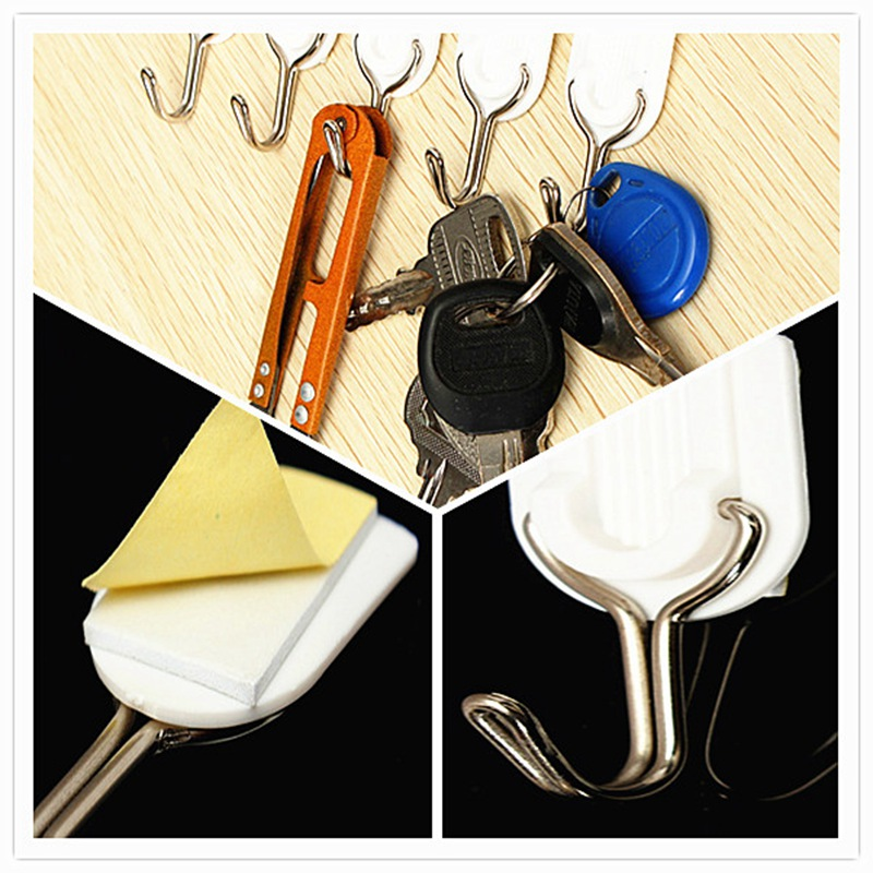 Best Promotion 6Pcs/Lot Wall Door Self-Adhesive Hook Hanger Bathroom Kitchen Sticky Holder Hanger For Home Decorate(China (Mainland))