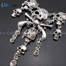 Pirates of the Caribbean Design Women Vintage Necklaces Fashion Bone Chains Skulls Choker Necklaces Pendants Jewelry