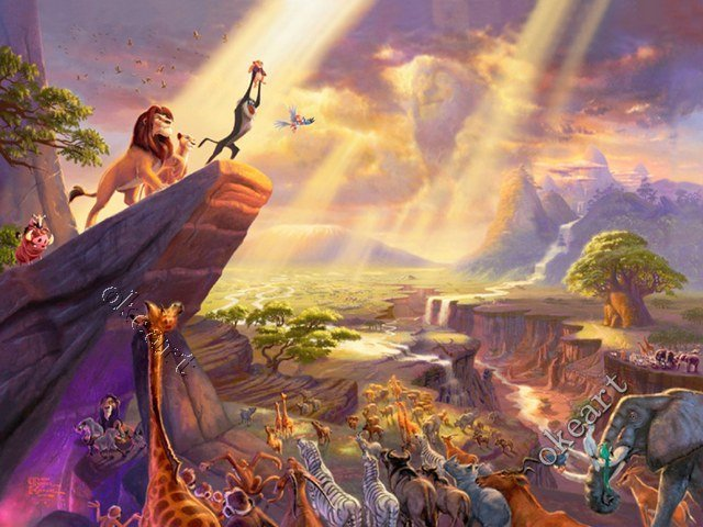Free shipping Lion King Print Waterproof No Fade poster Landscape Thomas kinkade famous painting reproduction manufacturer 0321