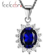 Feelcolor Luxury Kate Princess Diana Engagement Wedding Gem Stone Blue Sapphire Pendant Sets Solid Genuine 925 Sterling Silver(China (Mainland))