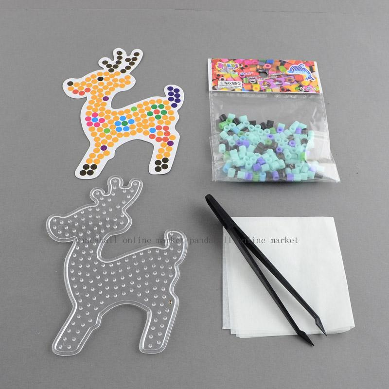 Sika Deer DIY Melty Beads Fuse Beads Sets: Fuse Beads, ABC Pegboards, Cardboard Templates, Plastic Beading Tweezers and Gummed(China (Mainland))