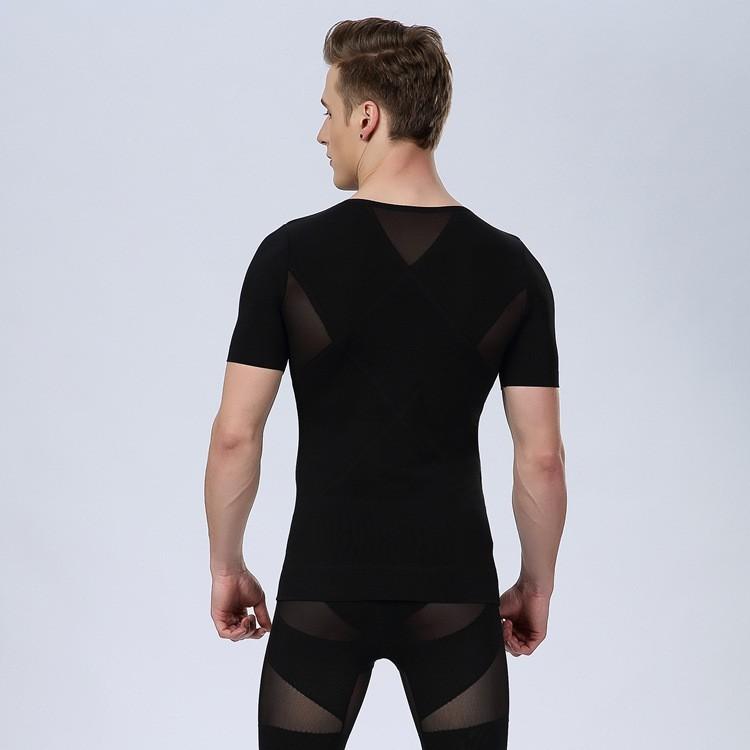 Mens Body Shaper Slimming Body Shaper Tummy Belly Талия Girdle Tee Underwear Compression Tight Короткий Рукав Футболка Shapewear