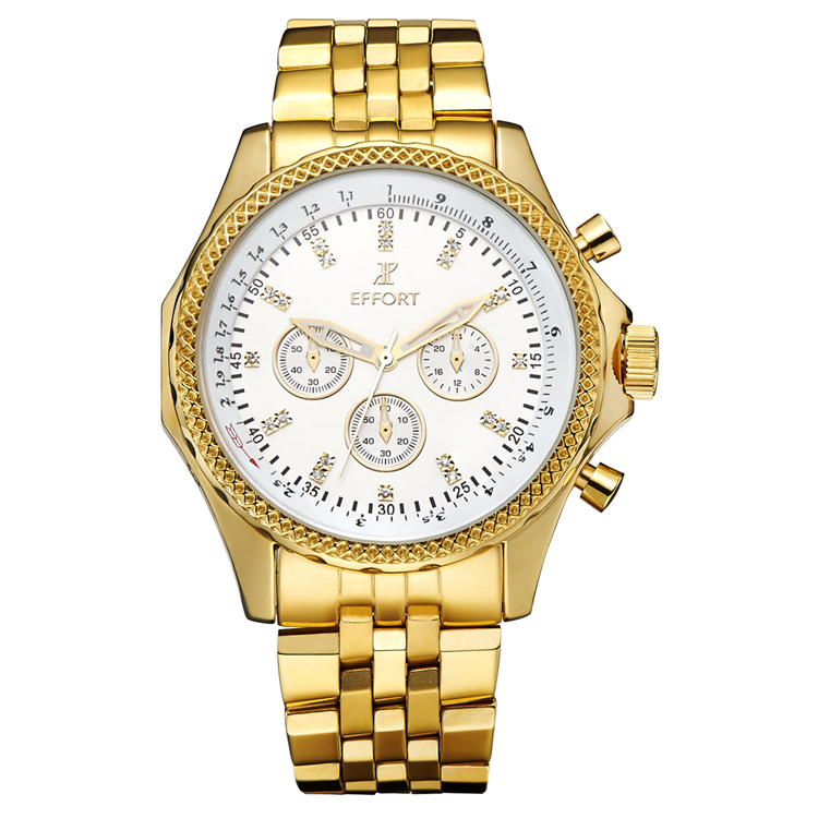 EFFORT 6 Hands Men Full Steel Gold Relogios Masulino Chronograph Luxury Brand Quartz Wrist Watches EMQG-003W <br><br>Aliexpress