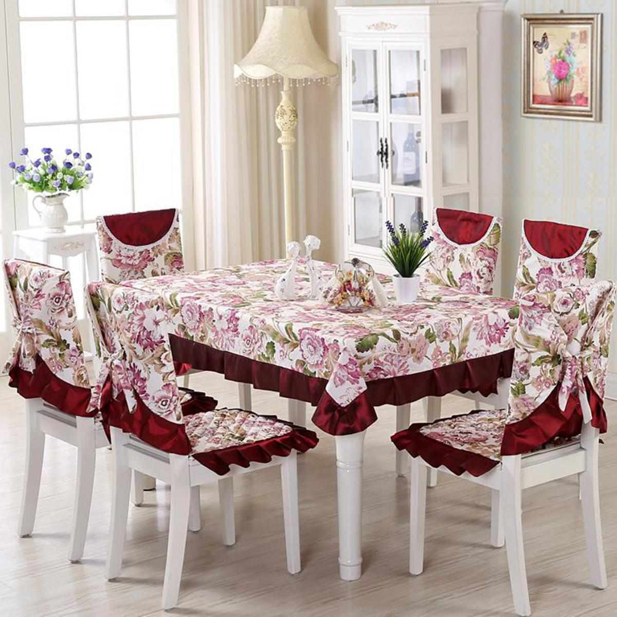 Vintage Polyester Tablecloth 13pcs/set Floral Embroidery Crocheted Table Clothes Chair Cover Home Wedding Decoration(China (Mainland))