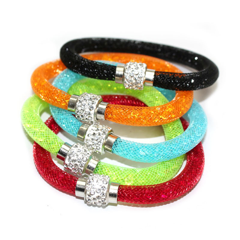 Promotion Hot sale Women Stardust Mesh Hologram Bracelets With Crystal Filled Magnetic Clasp Charm Snake Chain Round Bangles(China (Mainland))