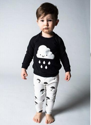 2016 autumn baby boy clothes Long sleeve black T shirt