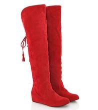 Envío de la gota de La Manera de la rodilla botas de Invierno Faux suede sobre la rodilla botas Damas Dentro de tacón botas zapatos de la nieve para las mujeres(China (Mainland))