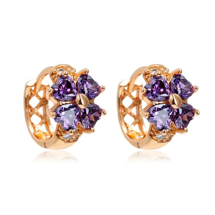 Baby Kids Jewelry 18k Yellow Gold Plated Lucky Four Leaf Clover Heart Cut Amethyst Purple CZ Small Hoop Earrings For Girls Child(China (Mainland))