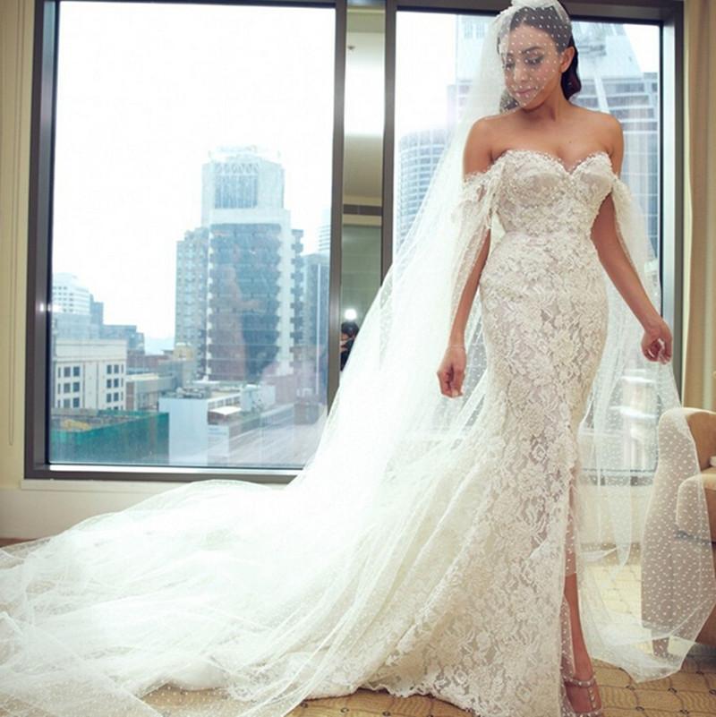2016 Top Quality Off The Shoulder Wedding Dress Sexy Sheath Bridal Wedding Dress With Pearls Long Veils Vestido De Noiva(China (Mainland))