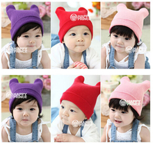 Retail 1 piece  fashion cute baby hatsknitting wool hat children winter warm hat 12 colors for choose OX horn hats