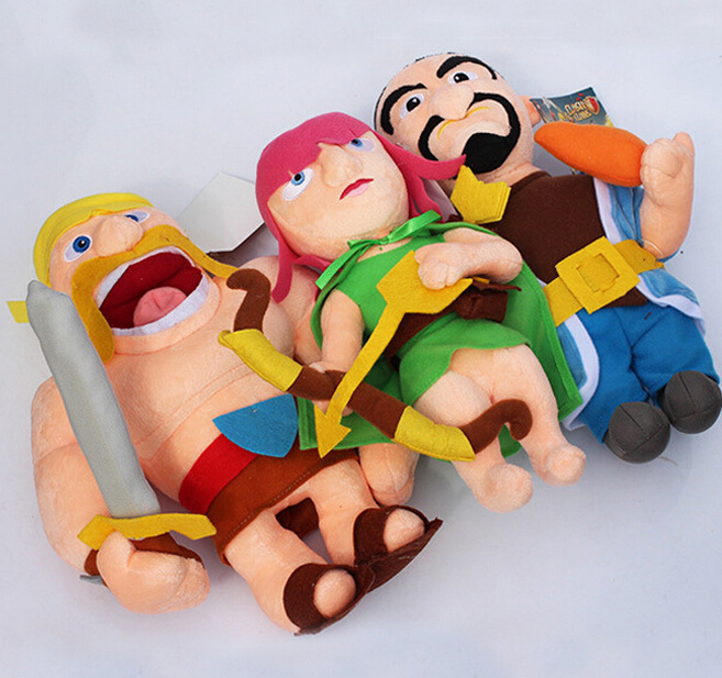 3pcs/lot 28-32cm Clash of Clans Plush Toys Archer Wizard Barbarian Stuffed Plush Soft Dolls Gift For Kids Free Shipping(China (Mainland))
