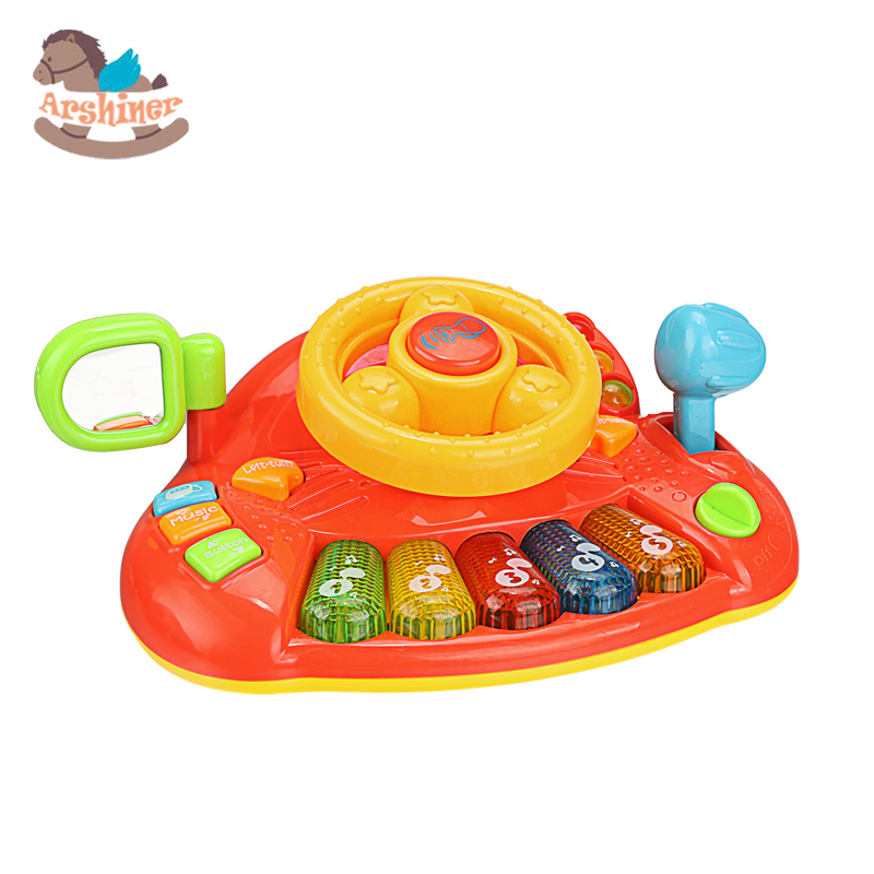 Arshiner Baby kids Plastic Steering Wheel Toy Light Music Toy Kids Toys Educational Development Learn and Discover Driver Toy(China (Mainland))