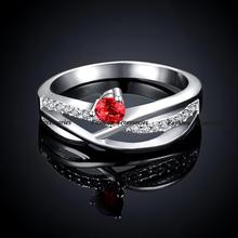 Wholesale Fashion Brand CZ Diamond Jewelry For Women AAA Ruby Rhinestone Finger Rings Free Shipping