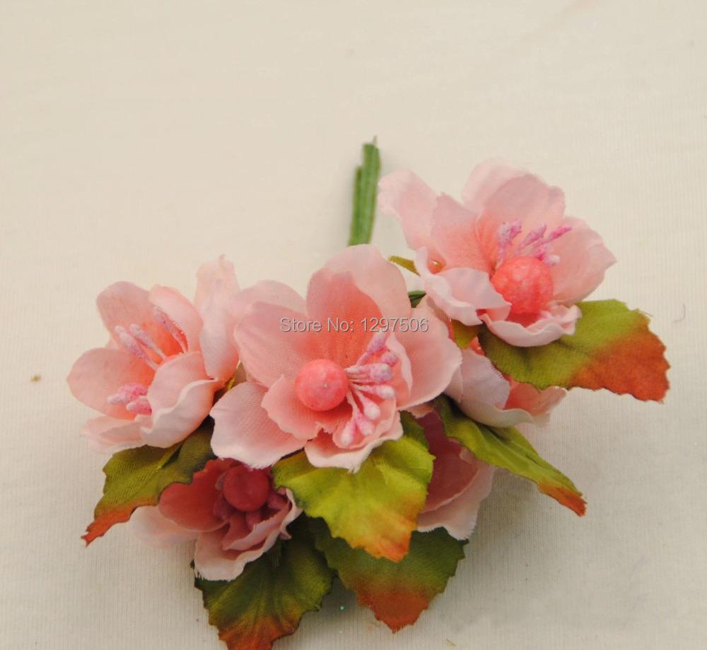 handmade artificial fabric small roses,silk cherry blossom bouquet,diy craft arrangement home decor,decoration for hair garland(China (Mainland))