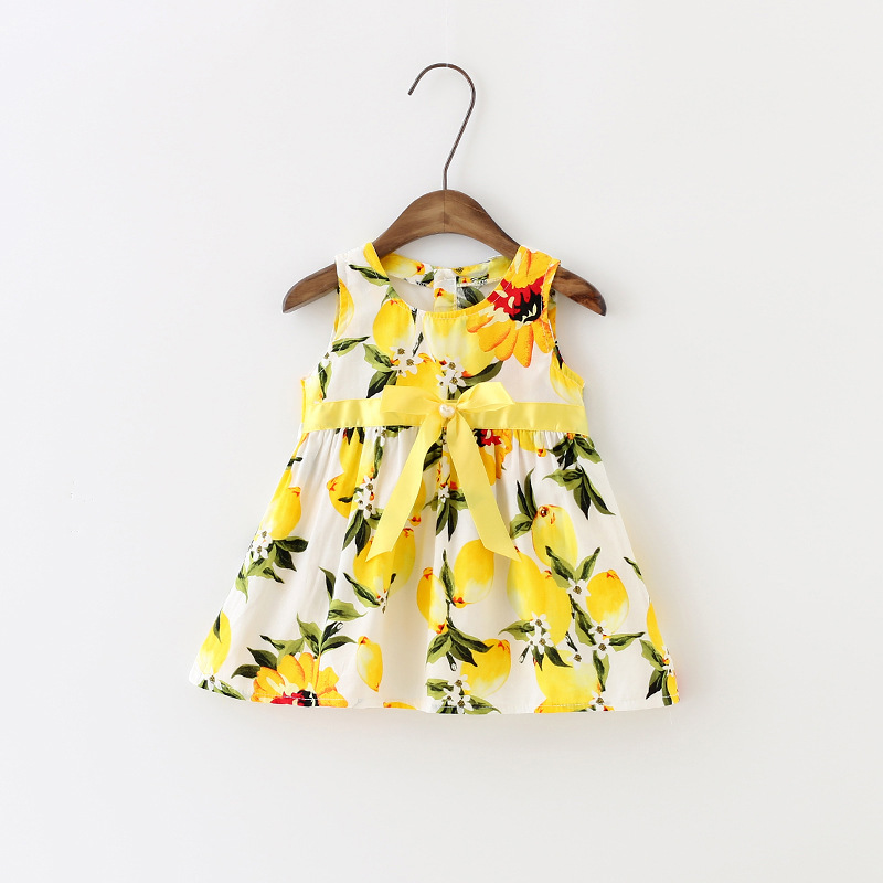Lemon Partten Baby Girl Clothes Sleeveless Girls Summer Dress European Hot Sale Toddler Dresses 3t With Belt Bow 2016 Ds028(China (Mainland))