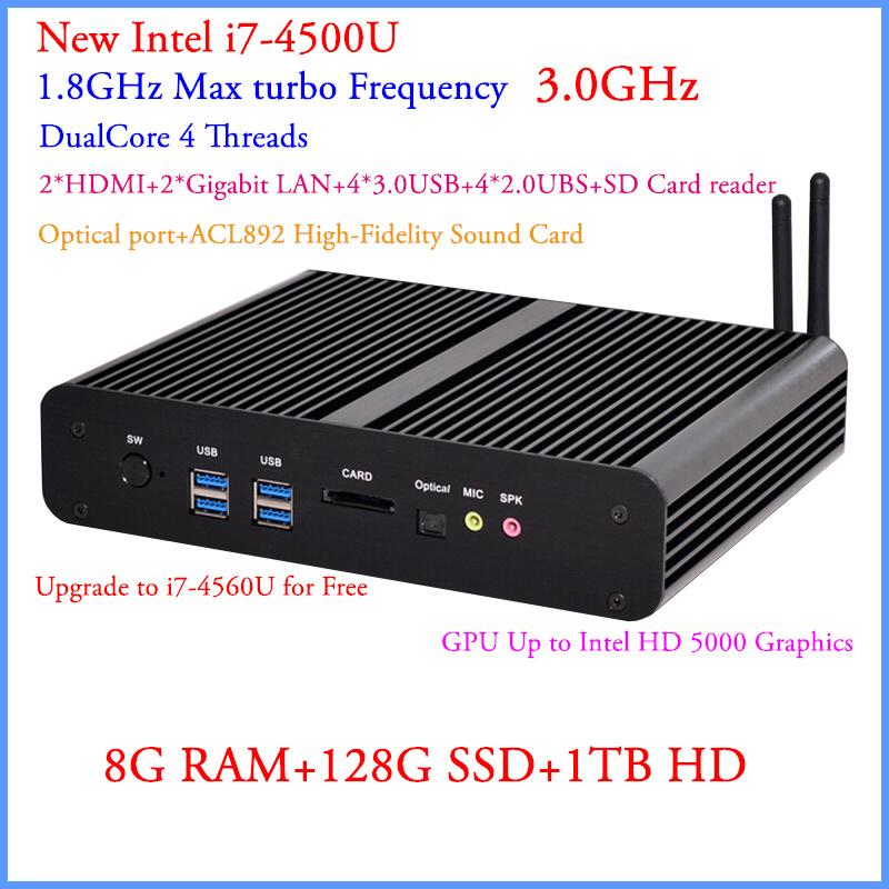 New General Low Power PC Intel Core i7 4500U With 8G DDR3 128G SSD 1TB HDD OpenELEC XBMC 4*USB3.0 1* USB2.0 HDMI DP HD 4K Minipc