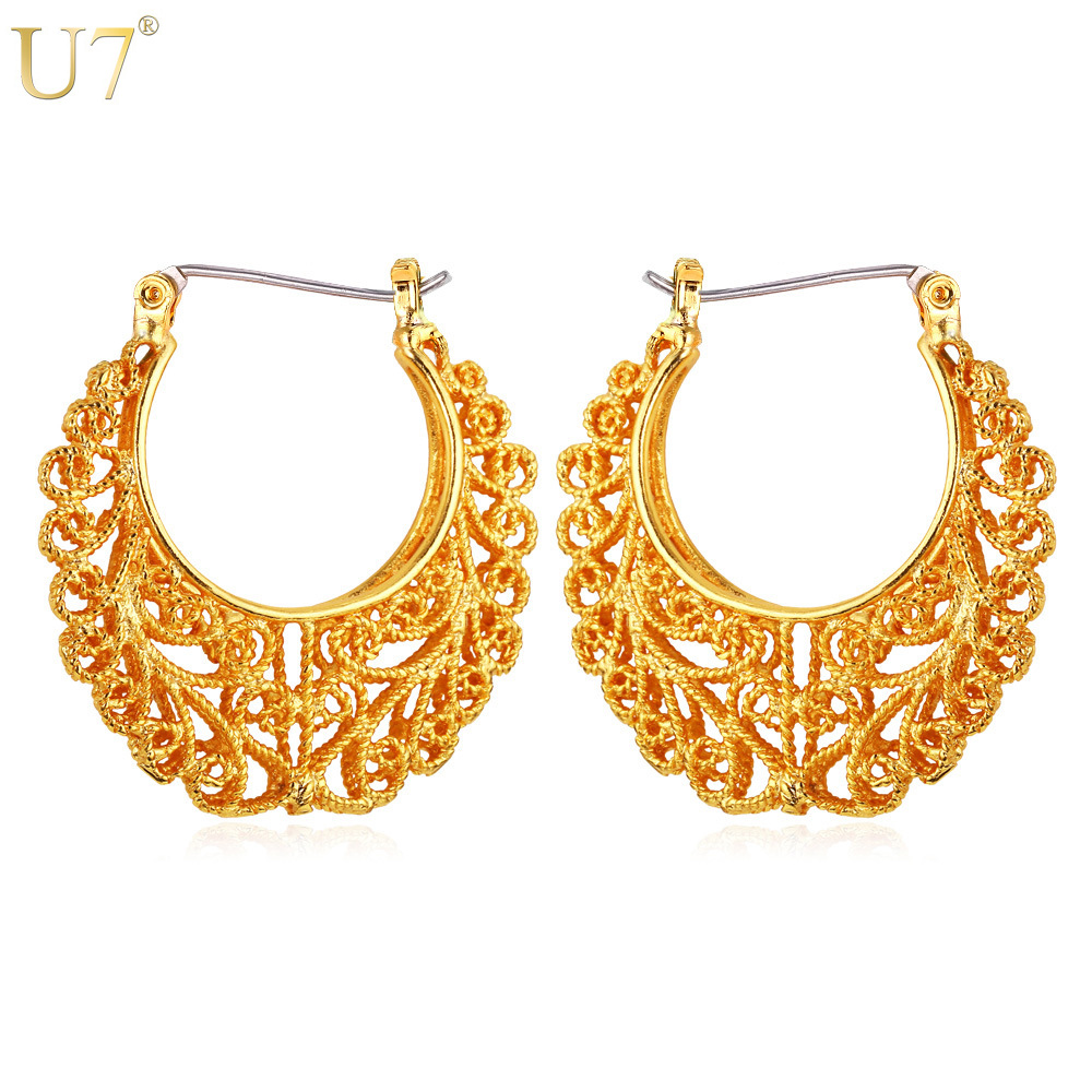 U7 Vintage Earring Platinum/18K Real Gold Plated Women Gift Sale Fashion Jewelry Basketball Wives Round Fancy Hoop Earrings E360(China (Mainland))