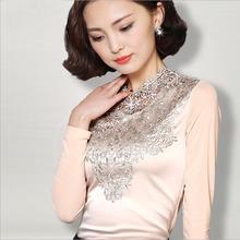 1 pcs Ladies lace blouses tops 2016 Spring Fashion Pure silk Lace splicing Long sleeve blouses Primer shirt Women Skinny shirts