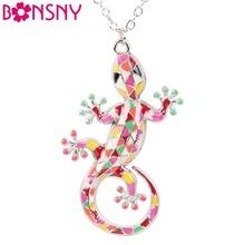 Buy Bonsny Statement Collar Alloy Enamel Gecko Lizard Necklace Long Chain Pendant News Choker Fashion Jewelry Women Accessories for $4.99 in AliExpress store