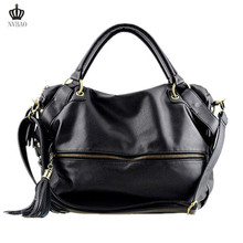 Classy PU Trendy Shoulder Bags with Zipper Leather Shoulder Bags Tassel Decoration Discount Travel Handbags for 22 Online(China (Mainland))