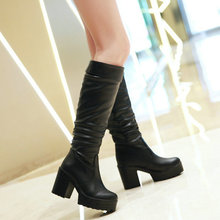New brand fashion Knee-high women Boots Women's thick high heel Platform Boots Winter western Boots Shoes woman large size 34-43(China (Mainland))