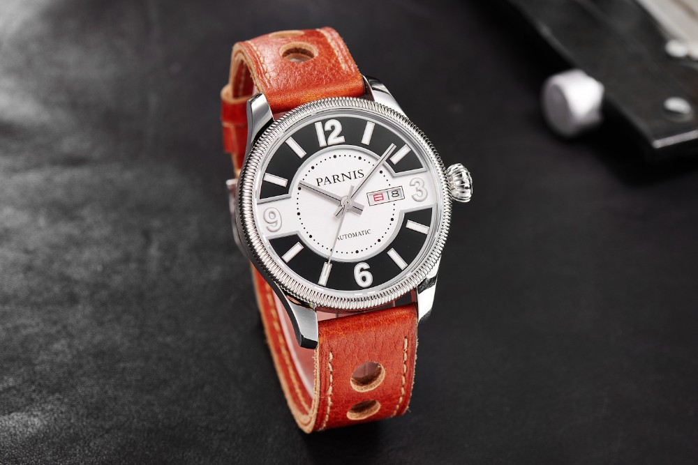 Новая Мода 42 мм Parnis Сапфир Корпус Из Нержавеющей Стали Япония Автоматический Механизм Мужские Наручные Часы бесплатная доставка