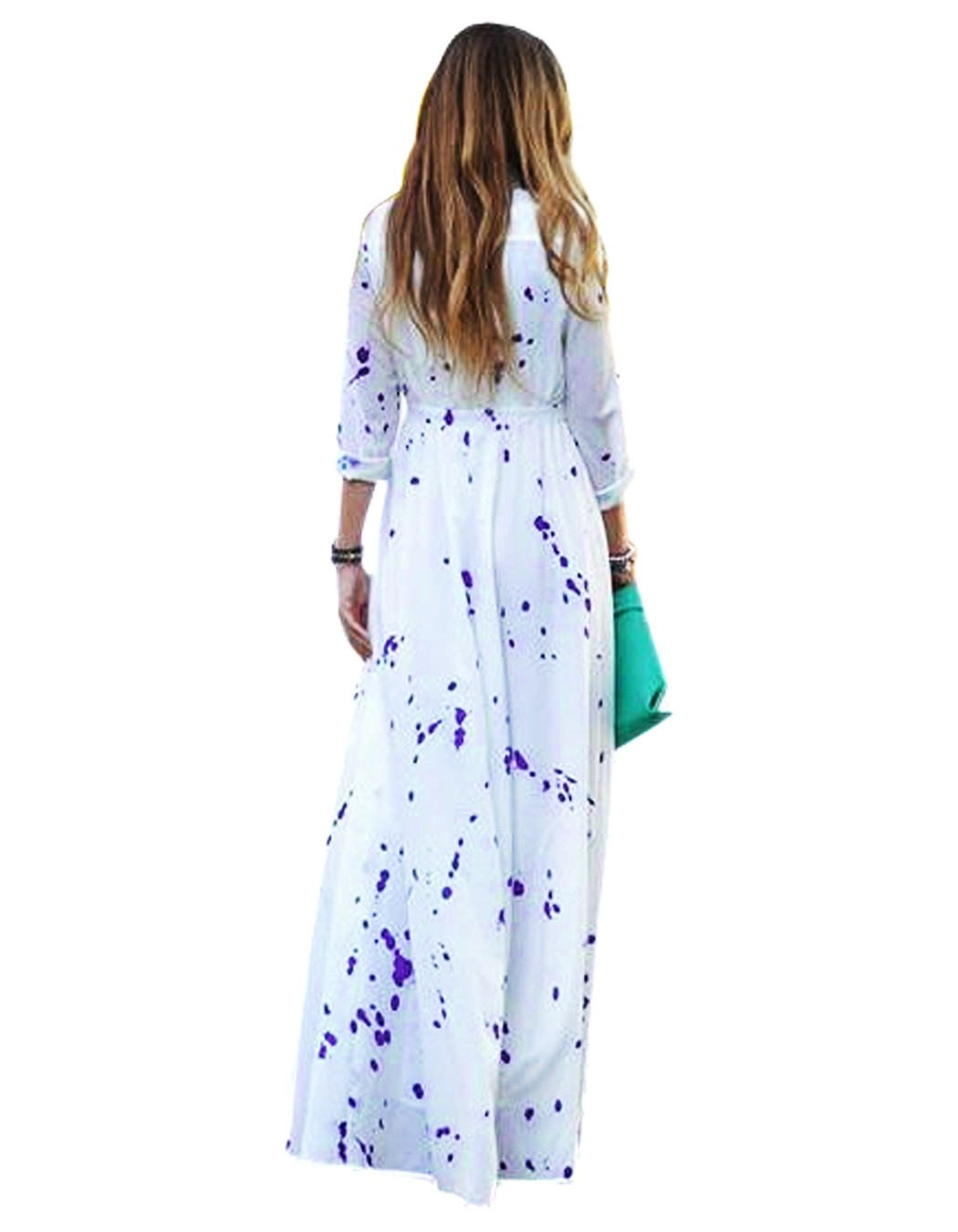 Fashion Gift Lapel Long Sleeve High Waist Chiffon Maxi Shirt Dress Beach Wear White Color LOVIW