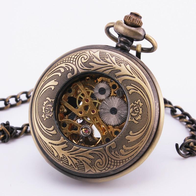 Orkina мужская ретро карманные часы роман белый циферблат рука-резные бронзовые чехол ручной механическая подвеска портативный удобный платье 32