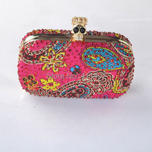 2015 New Hot Luxurious African Diomand Stone Crystal Peacock Evening clutch bags With Skull Clasp(China (Mainland))