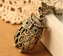 Hollow out cute owl necklace restoring ancient ways Sweater chain long owl pendant necklace