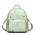 Lady Retro Printing Daypack 2016 New Fashion Light Green Cartoon Backpack Cute Designer Travel Bag Women