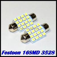 500pcs/lot Led Interior Dome Festoon led light Reading Light 16 SMD LED Bulb Light festoon 36mm 39mm 42mm 31mm 3528 White 12V