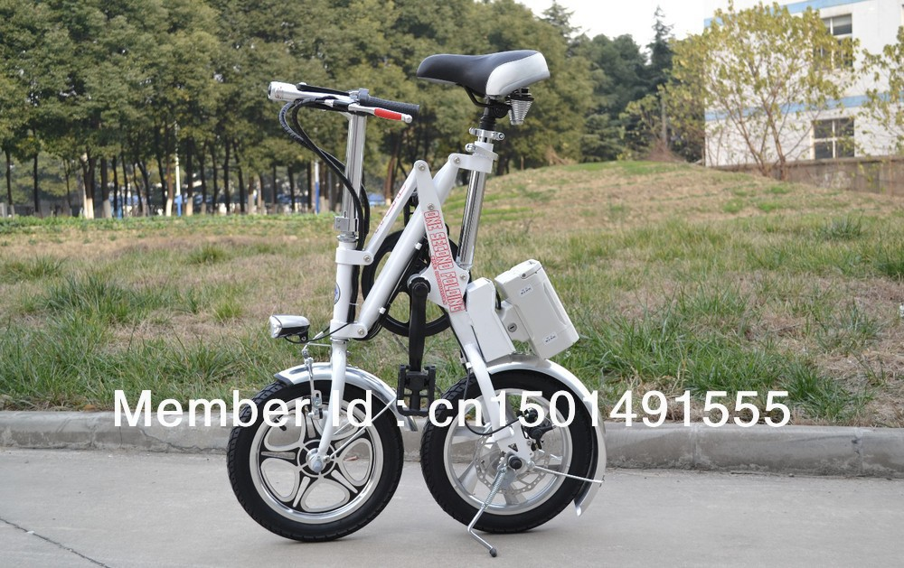 14 inch One second folding folding electric bicycle lithium Battery electric bike(China (Mainland))