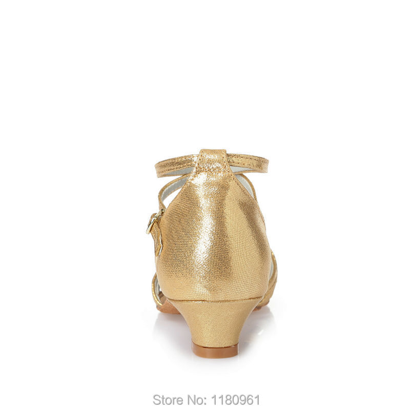Kids' Dance Shoes Latin dance shoes Party shoes Kids' Sneakers  Heel 3.5cm Gold Gold PU leather Factory direct sale L31