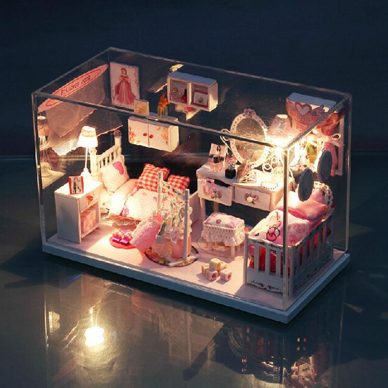 [해외]DIY 인형의 집 공주 룸 인형 집 미니어처 LED 가구 키트 핫..