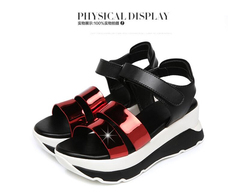 New fashion Spell color genuine leather shoes woman sandals 2016 hot sell fish head wedges Platform sandals summer women sandals(China (Mainland))