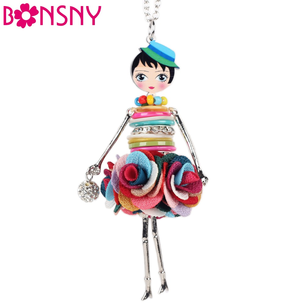 Bonsny Shell Crystal Doll Necklace Dress Handmade French Doll Pendant 2016 News Alloy Girl Women Flower Fashion Jewelry(China (Mainland))