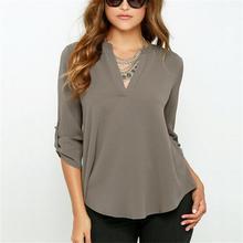2016 Autumn Women Sexy v-neck blusas loose feminina camisas Plus size women blouses chiffon blouse fashion ropa mujer