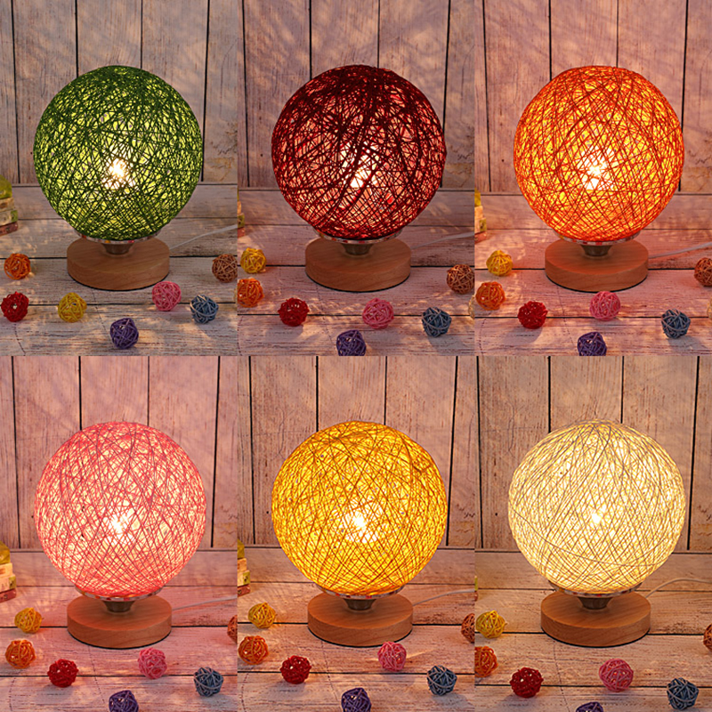 Solid wood creative white/yellow/green/red/orange/pink table lamp married the simple wedding warm light cane lamp(China (Mainland))