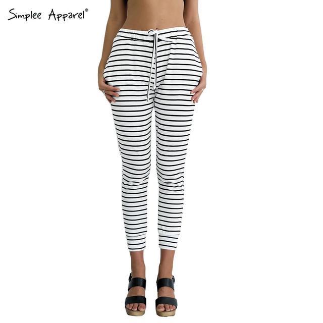 Simplee Одежда Случайный сексуальный белый полосатый брюки тонкий эластичный высокой ...