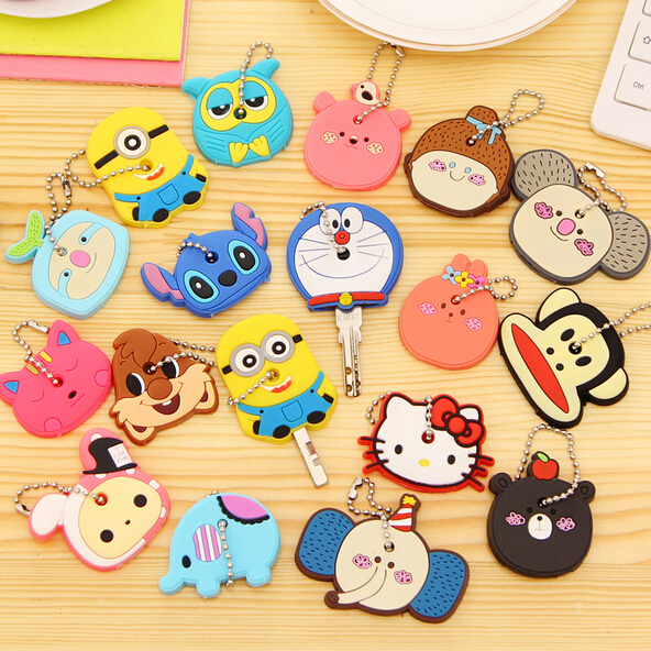 Cartoon Anime Silicone Cute Hello Kitty&Minion Owl Key Cover Key Cap Fashion Keychain Women Key Chain Key Ring Key Holder Gifts(China (Mainland))