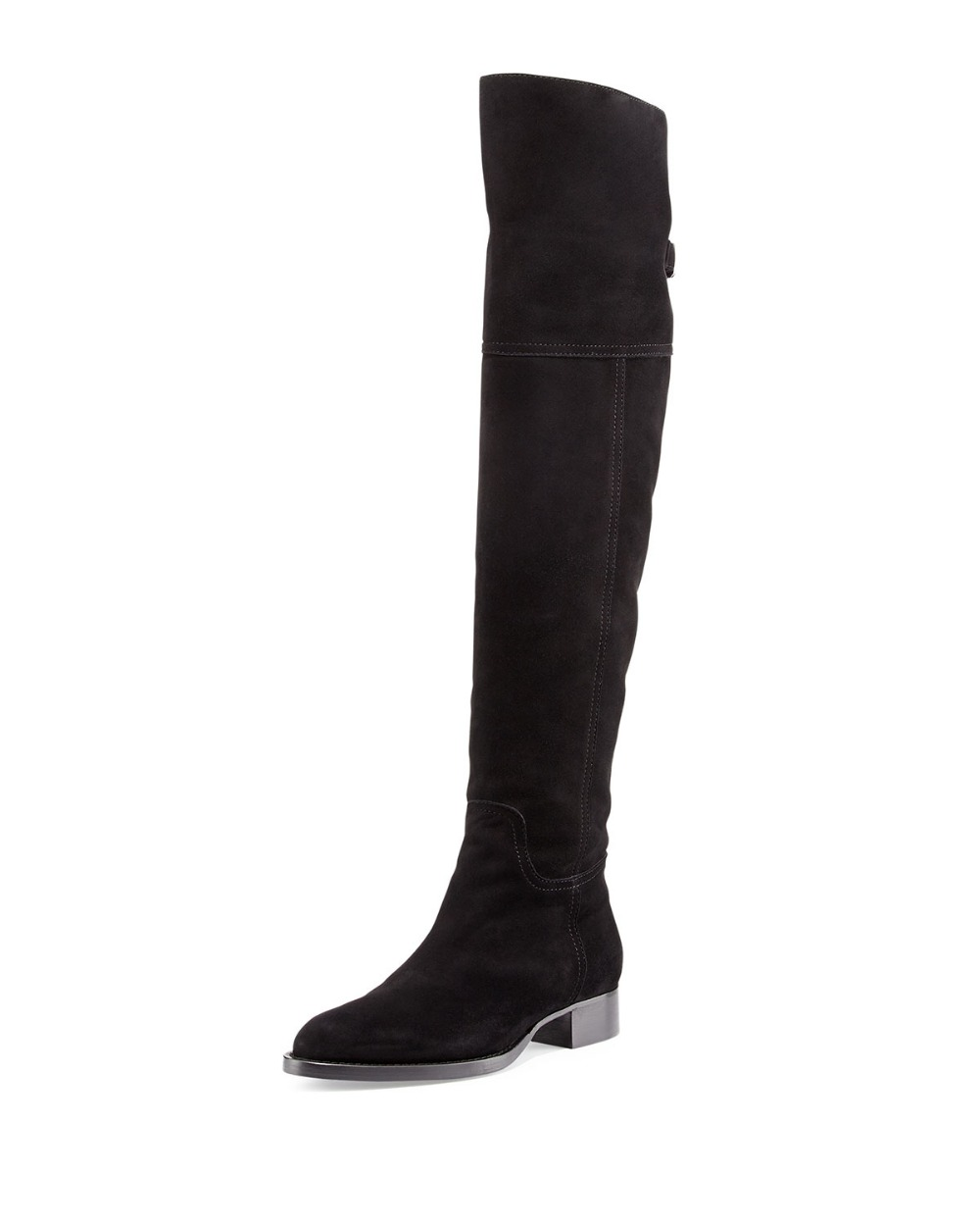 New Fashion Women Over-knee Boots High-quality Flock Round Toe 2.5cm Square Heels Boots Black Customizable Shoes Woman Plus Size