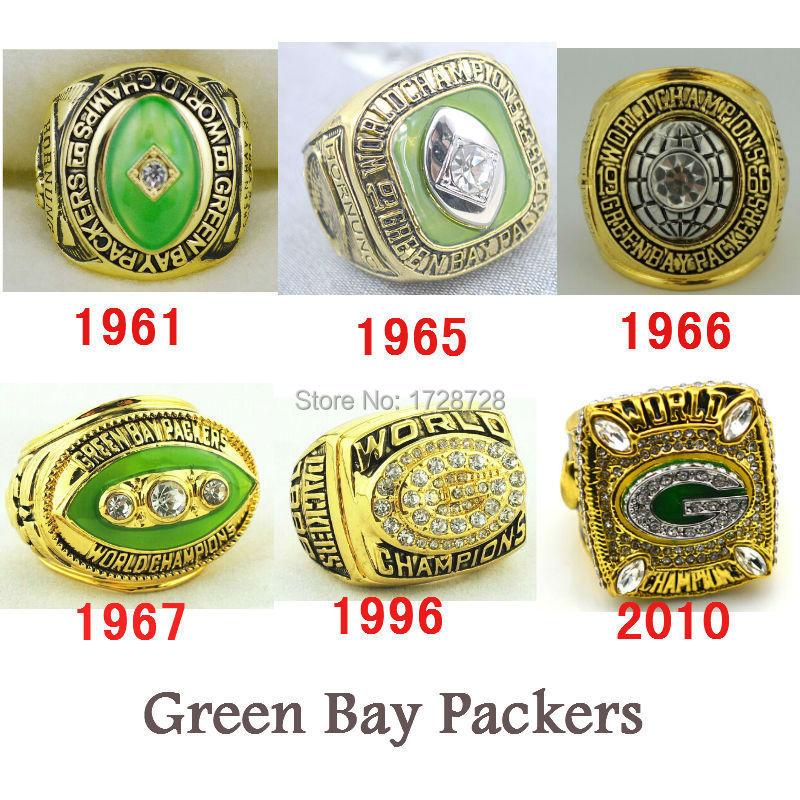 2015 hot sales Free Shipping 6pcs a lot replica 1961 1965 1966 1967 1996 2010 Green Bay Packers Super Bowl Championship Rings(China (Mainland))