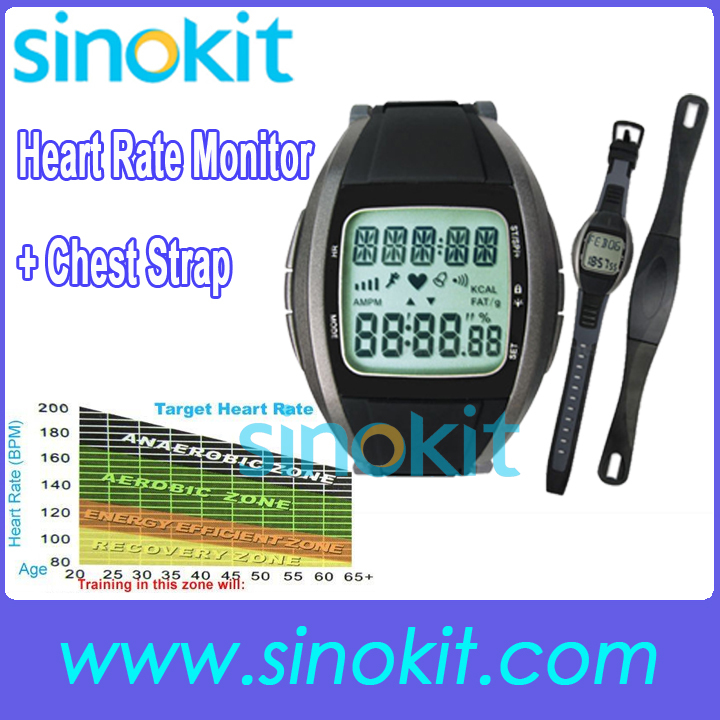 Free Shipping Heart Rate Monitor Chest Strap Watch Calorie Fat Calculation 30 ~ 240 bpm 2803(China (Mainland))