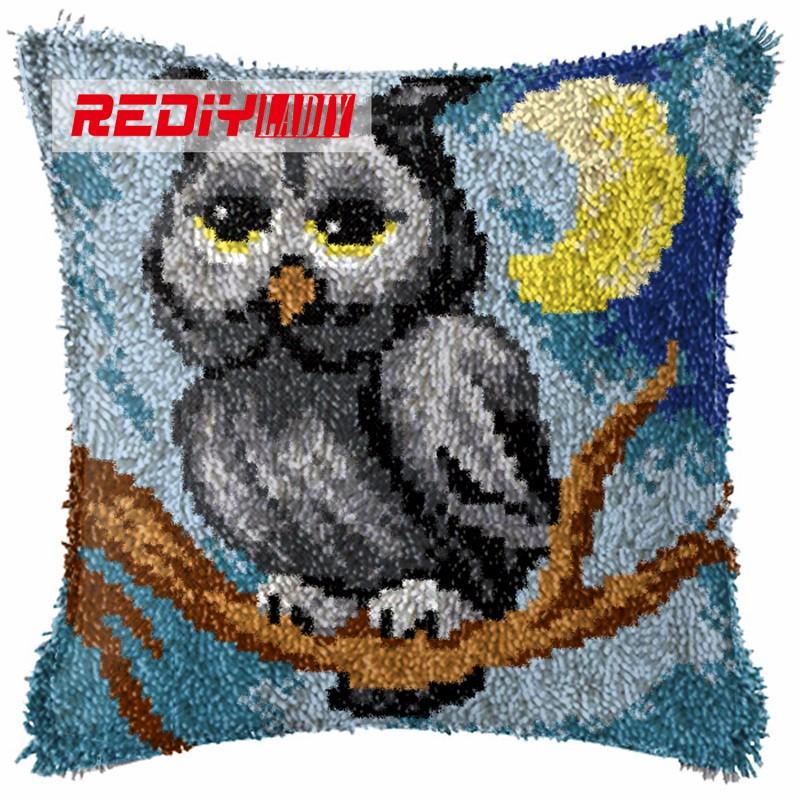 BZ801  REDIY LADIY Latch Hook Cushion Kit Yarn for Embroidery Cushion Cover Night Owl Pillow Case Crochet Cushion Decorative Pillow