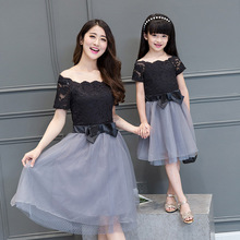 2016 mother daughter matching dresses summer style mommy and me clothes women grey black lace mesh patchwork slim party dress