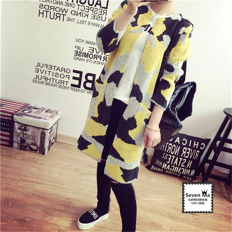 South Korea Shopping Camouflage fashion loose long knitted cardigan female 2016 new winter knit cardigan tide(China (Mainland))
